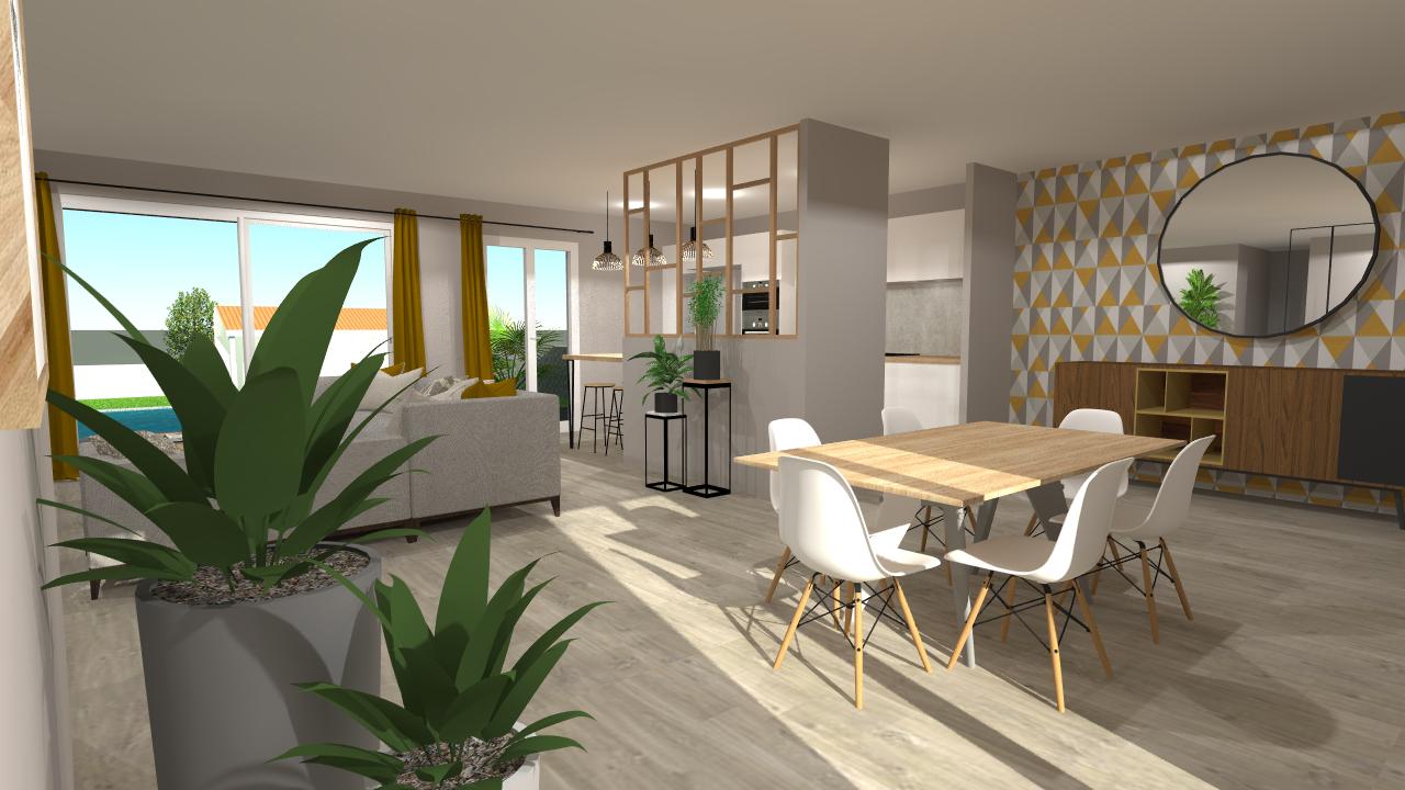 Plan 3D d'un séjour avec cuisine à Bordeaux