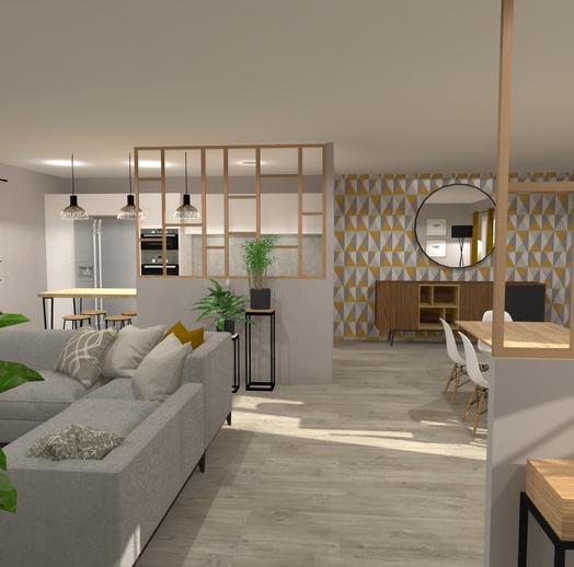 Projet de rénovation d'un séjour et déplacement d'une cuisine à Ambarès