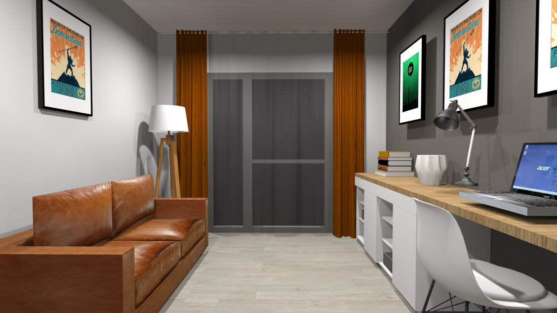 Aménagement et décoration intérieure d'un bureau et d'une chambre