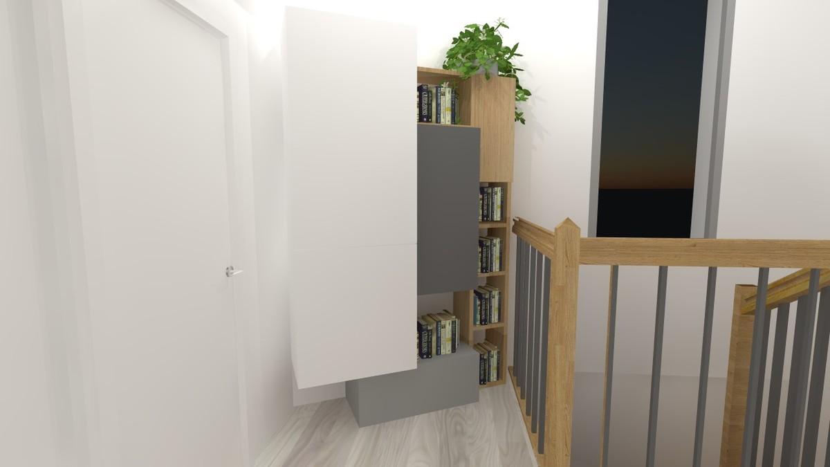 Projet d'aménagement de palier avec un meuble sur mesure près de Bordeaux