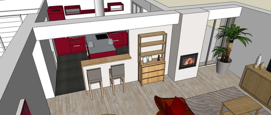 Un séjour plus clair et plus spacieux ouvert sur la cuisine à Bruges